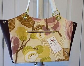 Deep wine and lavender floral medium sized shoulder bag