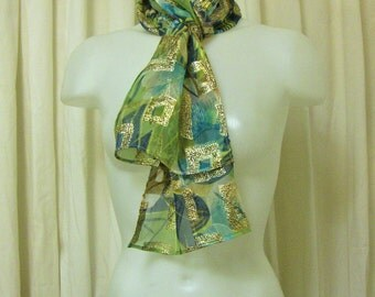 VINTAGE 1960's Blue, Green, Yellow Floral with Metallic Gold Lamé Long Sheer Chiffon Scarf