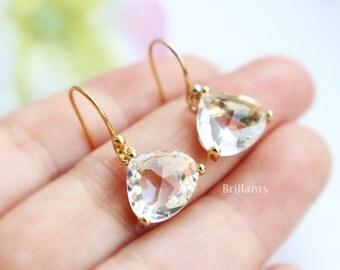 Clear stone earrings in gold, Teardrop stone earrings, Bridesmaid gift, Bridesmaid earrings, Wedding earrings, Wedding jewelry
