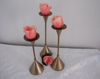 Solid Brass Candle Holders, Set of 3 Varying Sizes, Taper Candles, Flared Base