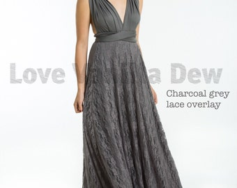 Bridesmaid Dress Infinity Dress Charcoal Grey Lace Floor Length Maxi Wrap Convertible Dress Wedding Dress