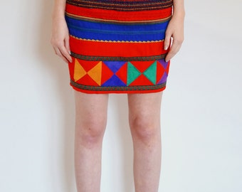 Vintage CACHE Suede Applique High-Waisted Tribal Skirt - 1980's