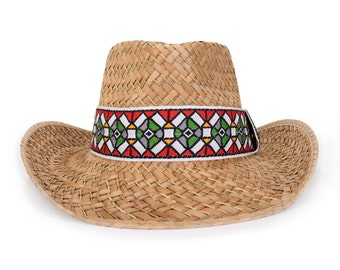 Cowboy hat , decorated with a vintage jacquard woven ribbon , Men's sun hats.