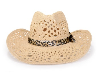 Unisex straw cowboy hat , decorated with a leopard print satin ribbon , Sun Hat.