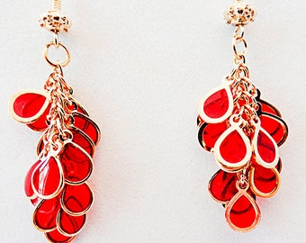 Red cluster earrings, red earrings, cluster earring, red jewelry, cluster jewelry, red glass outlined in gold, dangle earring, dangle - 0909