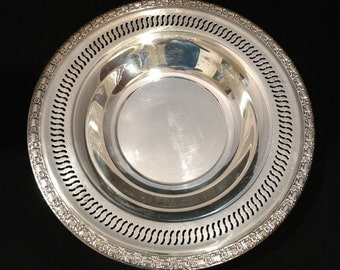 12 Inch Silver Plate Bowl by International Silver with Decorative Edge and Pierced Border