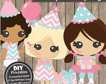 B'DAYGIRLS - Instant Download Printable PDF - DIY Birthday Gift Tags, Party, Decorations, Clipart, Scrapbooking and Craft Projects