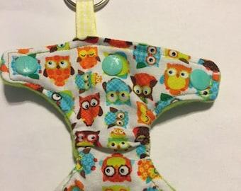 Cloth Diaper Keychain. Hoot Hoot!
