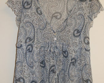 Vintage Chiffon Low V-Neck Grey and Blue Paisley Cap-Sleeve Top Size M
