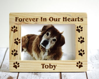 pet memorial frame personalized forever in our hearts wood burned frame pet picture frame