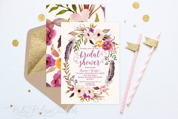 Romantic Watercolor Bridal Shower Invitation