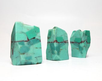 Turquoise Rock Soap Set - Three Pieces - Crystal Soap