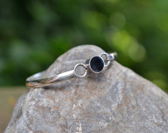 Sterling Silver and Onyx Mexican Hook Bangle Bracelet