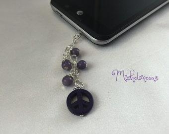 Purple, Peace, Stone, Phone, Charm, Plug, Cell Phone, Dust Plug, Phone Charm, Cell Phone Accessories, Cell Phone Charm, Peace Sign, Lavender