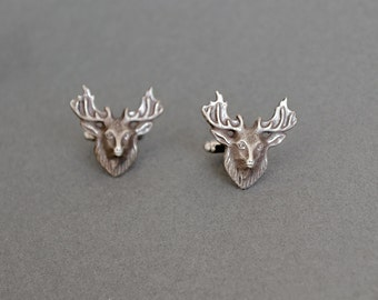 Deer Cufflinks Men's Cufflinks Deer Cufflinks Buck Cufflinks Hunter Bambi Steampunk Cufflinks  Antique Silver Men's Gifts Father's Day Gifts