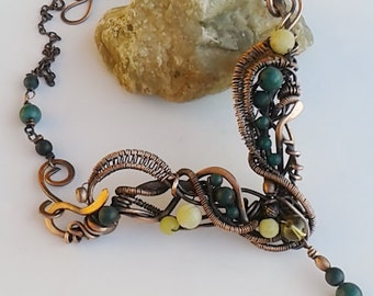 Copper necklace,Copper wire necklace with natural stones,Woodland necklace,Wire wrapped necklace