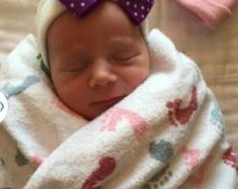 Purple Bow Hospital Hat - Newborn Hospital Hat - Baby Girl Hat - Purple Bow Hat - Newborn Hat - Purple Swiss Dot Hat - Bow Hospital Hat