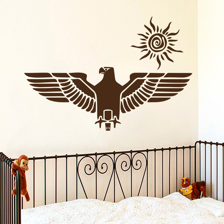 Eagle wall decals flying bird vinyl sticker sun decal interior for Eagle wall mural