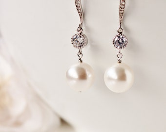 Pearl Wedding Jewelry Crystal Pearl Bridal Earrings White Ivory Round Swarovski Pearl Earrings bridal jewelry pearl bridesmaid earrings
