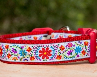 Boho Dog Collar / Hippie Dog Collar / Australian Made Dog Collar / Red