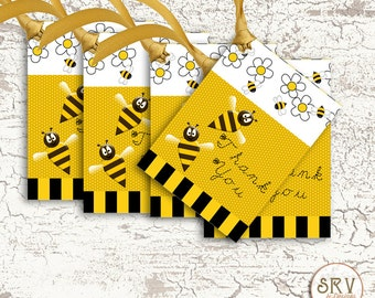 9 Honey Bee Gift Tags, Flower and Bees 2.5 x 3.5 Hang Tag, Garden Thank You Tags, Product Tag, Choose Ribbon Color