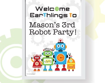 "Robot Party Printable Welcome Sign | Personalized Name | 8""x10"" and 5""x7"" 
