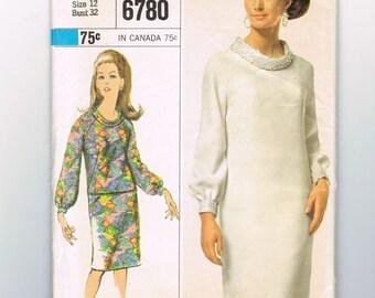 60s Dress Pattern, Roll Collar, Above Knee Dress, Long Sleeve, Raglan Sleeve Dress, Shirt and Skirt Set, Simplicity 6780, Size 12 Bust 32