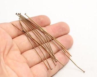 20 Ga 60mm 100 Pcs Bronze Head Pins, Bronze Charms, Antique Bronze Head Pins, CLS25