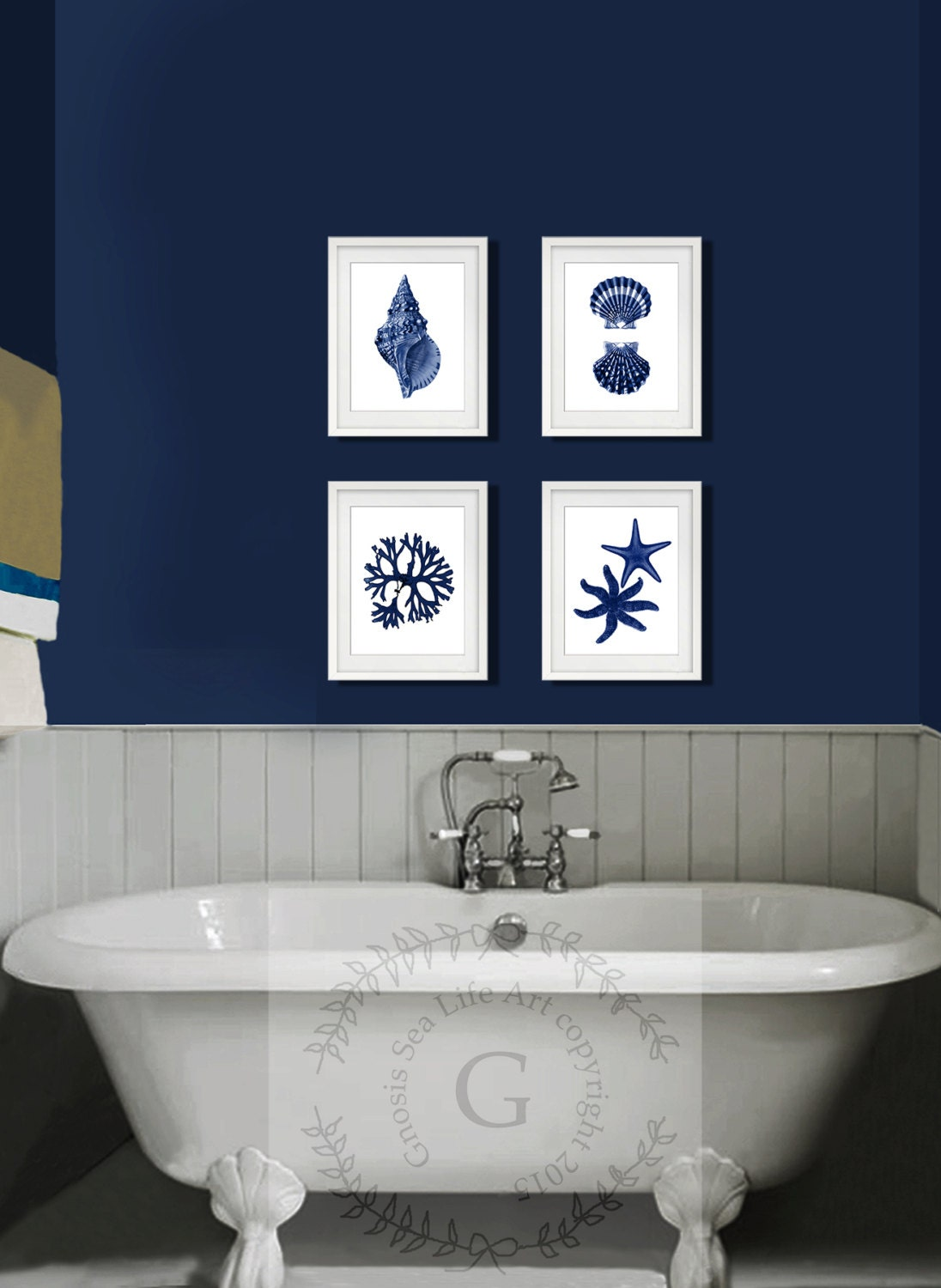 Coastal wall decor navy blue wall art set of 4 beach decor for Bathroom wall decoration ideas