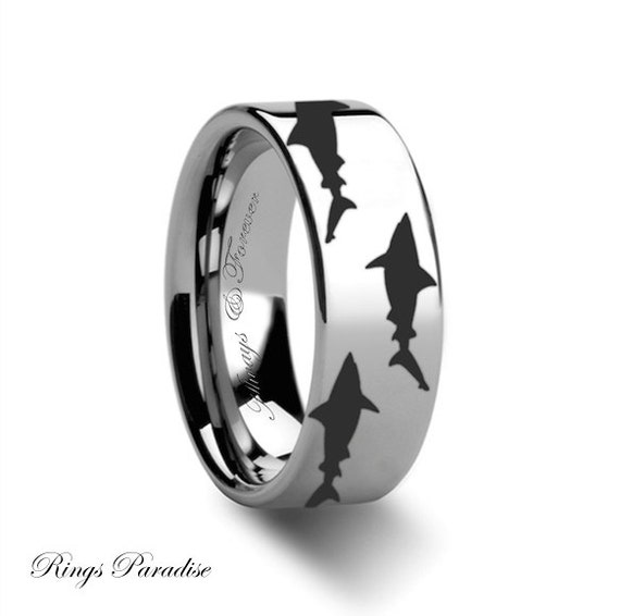 Tungsten ring shark predator fish sea print by ringsparadise for Mens fishing wedding bands