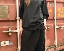 Extravagant Asymmetric Loose Pants / Black Maxi Skirt Pants / Wide Leg Black Pants / Comfortable High Quality Linen Pants by METAMORPHOZA