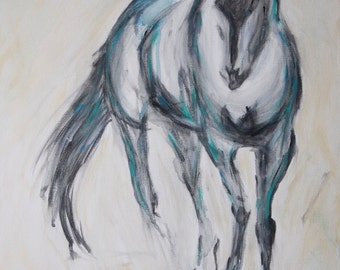 SOLD! Horse Painting-Horse Abstract-ORIGINAL painting-Teal and Blue