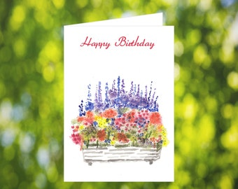 Bday Card Instant Download: Watercolor Flower Box Birthday Card for Her - Bday Card Download - Printable Bday Card