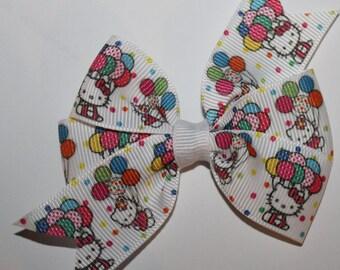 Hello Kitty Hair Bow, Hello Kitty Bow, Toddlers Hello Kitty Hair Bow, Toddlers Hair Bow, Toddlers Bow, Birthday Hello Kitty Bow,