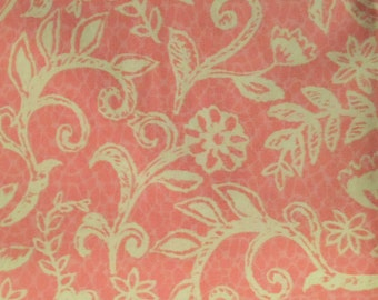 Pink and Cream Paisley Floral Fabric Remnant Piece