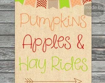 Pumpkins, Apples & Hay Rides Fall Printable- Instant Download!
