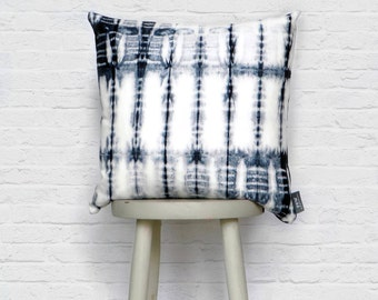 Shibori Blue Cushion Hand Dyed Fishbone, Indigo, 100% Cotton