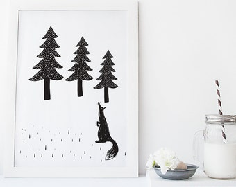 Scandinavian  monochrome Nursery Wall Art Print Fox in Woodland modern decor kids room