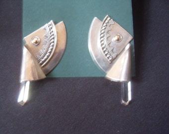 Sterling Silver Single Crystal  Earrings Artist made