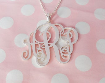 Monogrammed Gift, Vine Monogram Necklace 3 Initials Sterling Silver, Monogrammed Name Pendant- 1.5 inch - 100% Handmade Gift for Her