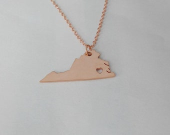 Virginia Necklace Rose Gold, VA State Charm Necklace ,State Shaped Necklace,Personalized Virginia State Necklace With A Heart