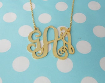 Monogram Initials Necklace 1.75 inch,Gold Monogram Necklace,3 Initials Necklace Charm,Name Necklace 18K Gold Plated,Bridesmaids Gift