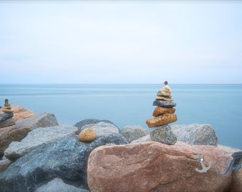 Peace ~ Point Judith, Rhode Island, Cairns, Beach, Photography, Wall Art, Nautical, Blue, Stones, Coastal Decor, Photograph, Nautical Art