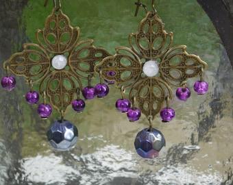 Purple Drop Earrings, Handmade Jewelry