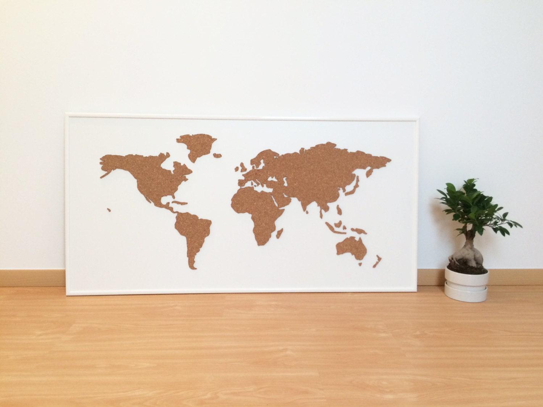 Cork Board World Map White