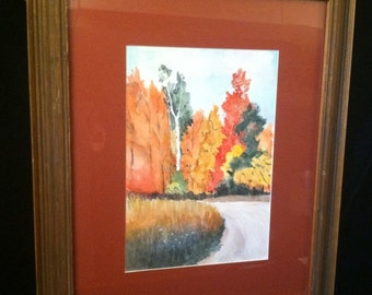 Vintage Framed Original Watercolor Landscape PAINTING Fall Autumn Signed Kay Smith