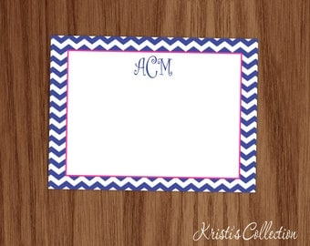 Personalized Chevron Flat Note Card Set - Monogrammed Personal Stationery Stationary for Women - Girls Custom Thank You Notes