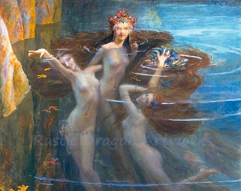"Gaston Bussiere ""The Nereides or Nereids"" c1927 Reproduction Digital Print Nyphs Goddesses of the Sea Patrons of Sailors Fishermen"