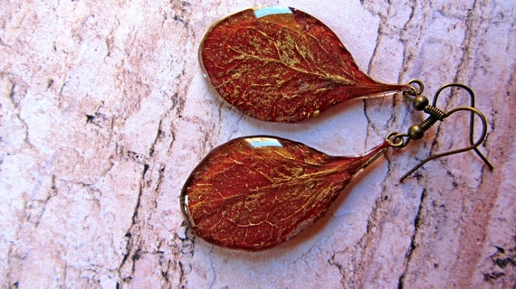 Autumn leaf dangle earrings real leaf Gold fiber jewelry Maroon earrings Organic drop jewelry gift Burgundy earrings Resin Gold for her