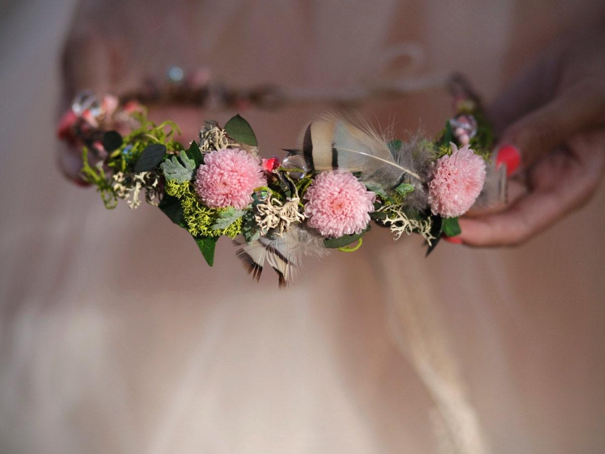 Bridal Flower Wreath For Hair : Flower crown bridal head wreath wedding hair